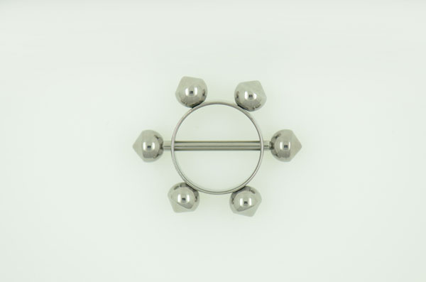 Nipple barbell with pendant and 6 needle (BW1066)
